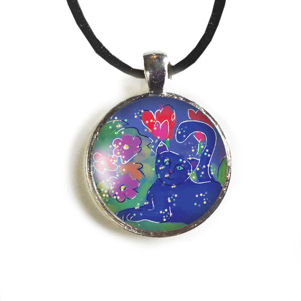 Blue Cat Round Glass and Silver Pendant - Original Women and Girl gift , Jewelry - The Art Journey
