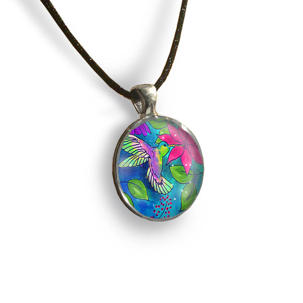 Hummingbird Round Glass and Silver Pendant - Original Women and Girl gift , Jewelry - The Art Journey