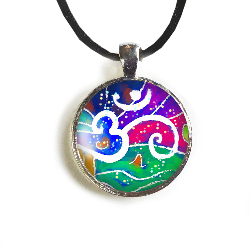 OM Round Glass and Silver Pendant - Original Women and Girl gift , Jewelry - The Art Journey