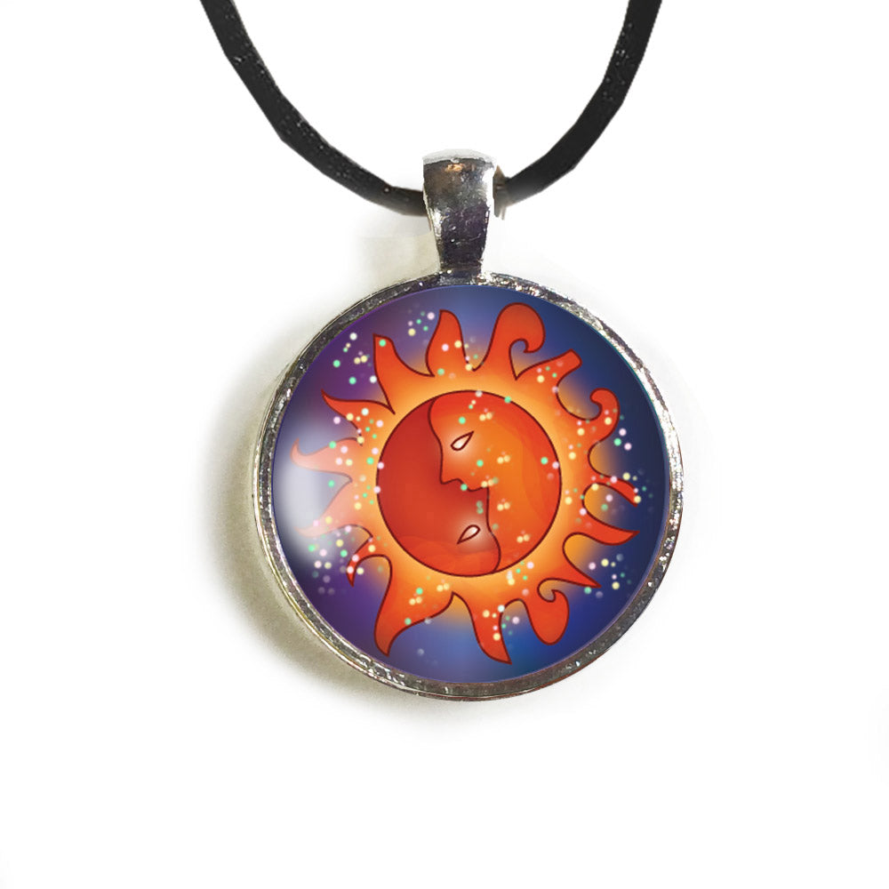 Sun Round Glass and Silver Pendant - Original Women and Girl gift , Jewelry - The Art Journey