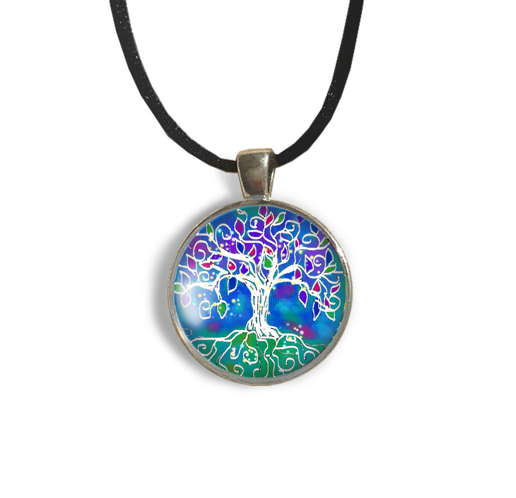 Tree of Life Round Glass and Silver Pendant - Original Women and Girl gift , Jewelry - The Art Journey
