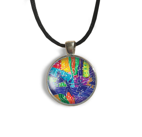Dancing Children Round Glass and Silver Pendant - Original Women and Girl gift , Jewelry - The Art Journey