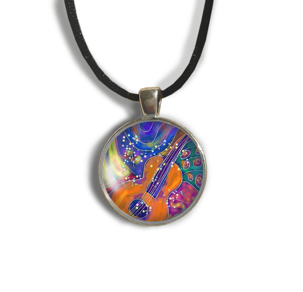 Guitar Round Glass and Silver Pendant - Original Women and Girl gift , Jewelry - The Art Journey