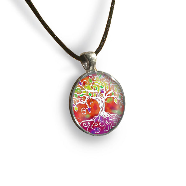 Tree of Life 2 Round Glass and Silver Pendant - Original Women and Girl gift , Jewelry - The Art Journey
