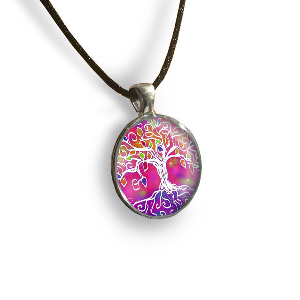 Tree of Life 3 Round Glass and Silver Pendant - Original Women and Girl gift , Jewelry - The Art Journey