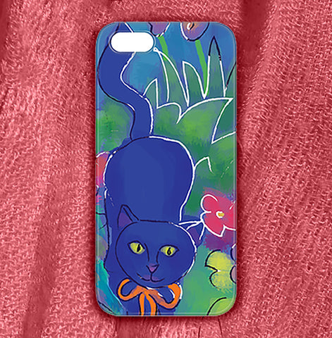 Blue Cat 1 , Phone Cases Plastic - The Art Journey