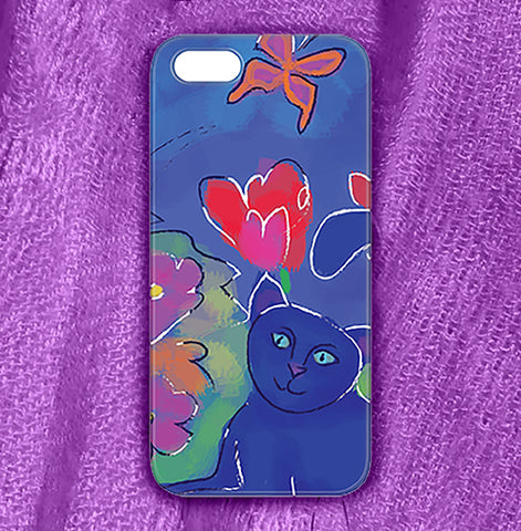 Blue Cat 2 , Phone Cases Plastic - The Art Journey