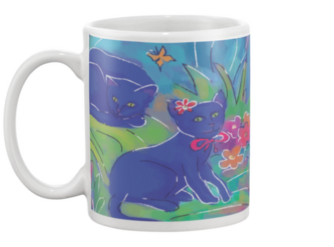 Blue Cats Coffee Mug , Mug - The Art Journey