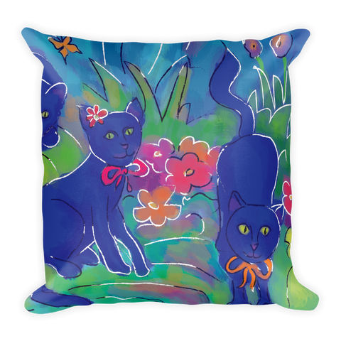 Blue Cat Artistic Decorative Pillow , Pillows - The Art Journey