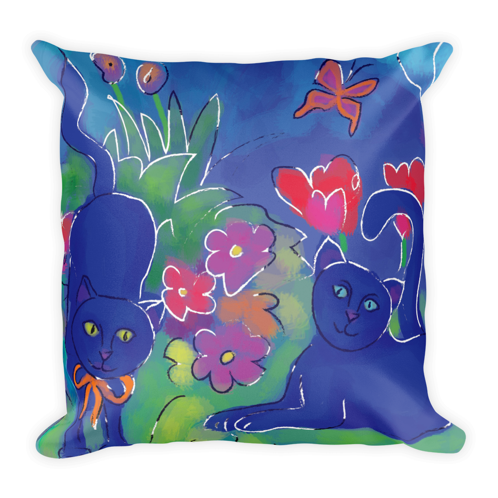 Blue Cat 2 Artistic Decorative Pillow , Pillows - The Art Journey