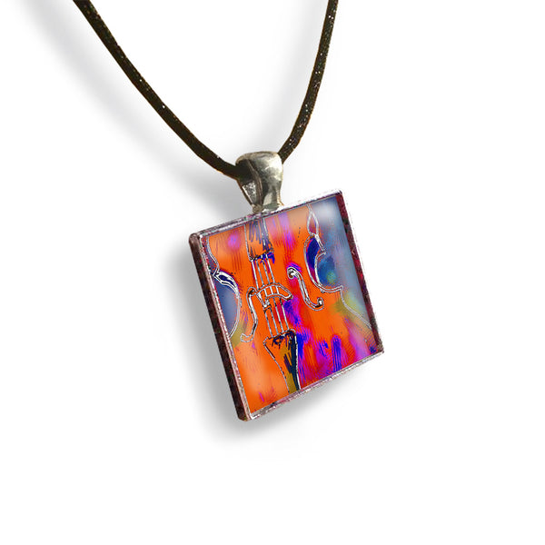 Cello Square Glass and Silver Pendant - Original Women and Girl gift , Jewelry - The Art Journey