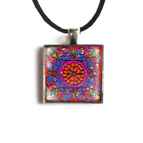 Mandala 2 Square Glass and Silver Pendant - Original Women and Girl gift , Jewelry - The Art Journey