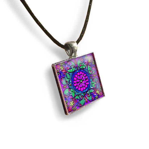 Mandala 1 Square Glass and Silver Pendant - Original Women and Girl gift , Jewelry - The Art Journey