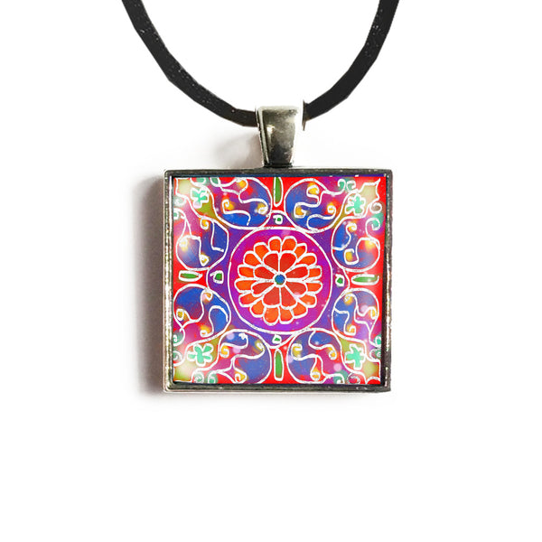 Mandala 3 Square Glass and Silver Pendant - Original Women and Girl gift , Jewelry - The Art Journey