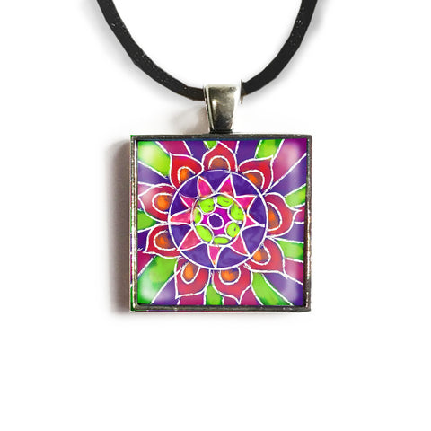 Mandala 6 Square Glass and Silver Pendant - Original Women and Girl gift , Jewelry - The Art Journey