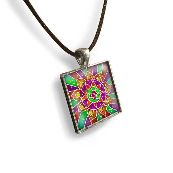 Mandala 5 Square Glass and Silver Pendant - Original Women and Girl gift , Jewelry - The Art Journey