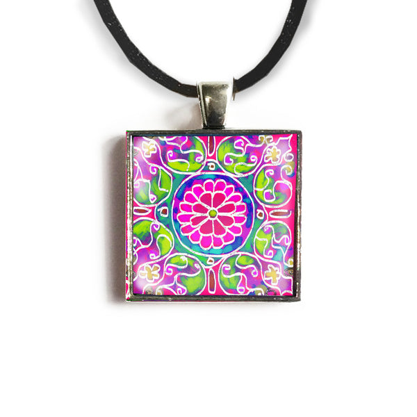 Mandala 7 Square Glass and Silver Pendant - Original Women and Girl gift , Jewelry - The Art Journey