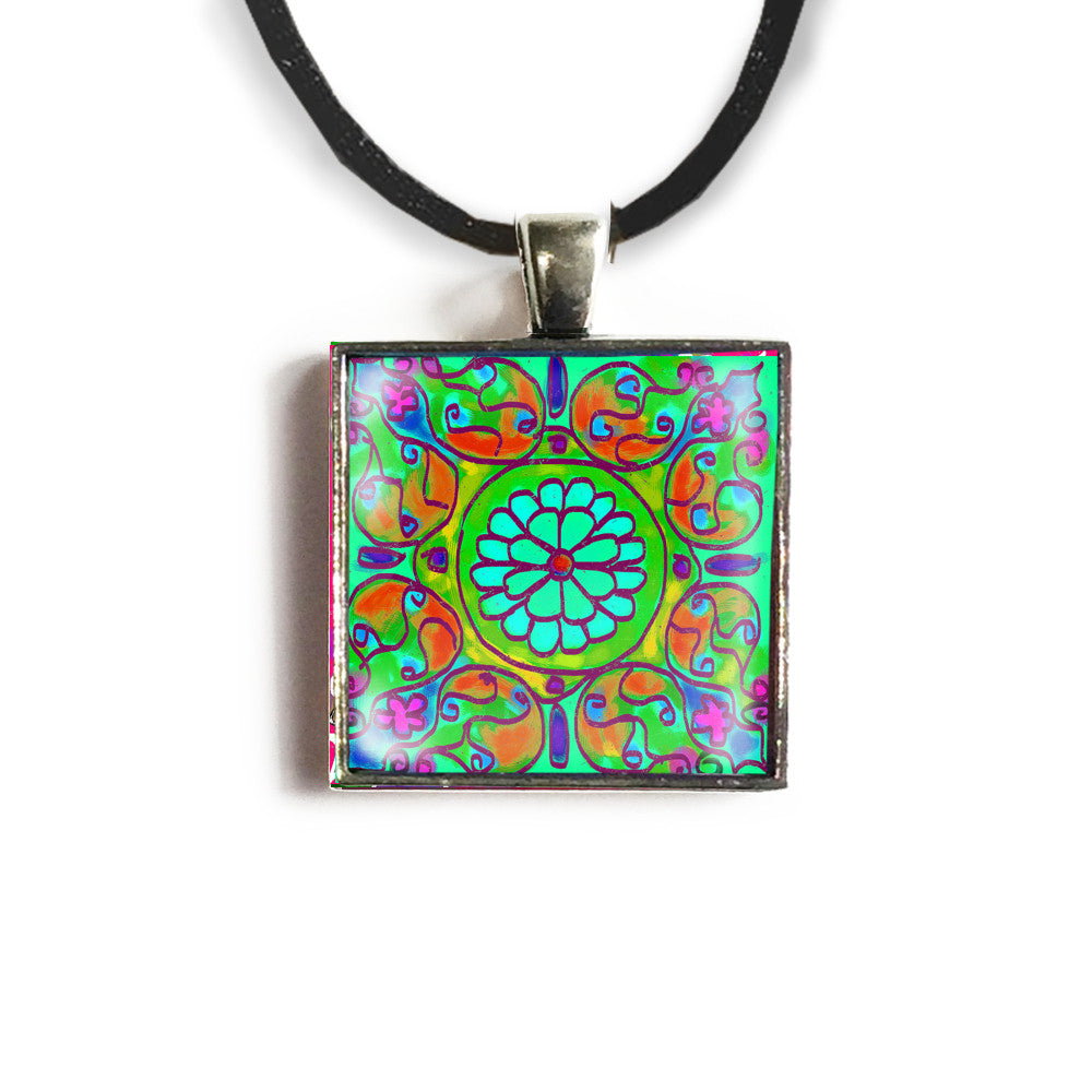 Mandala 8 Square Glass and Silver Pendant - Original Women and Girl gift , Jewelry - The Art Journey