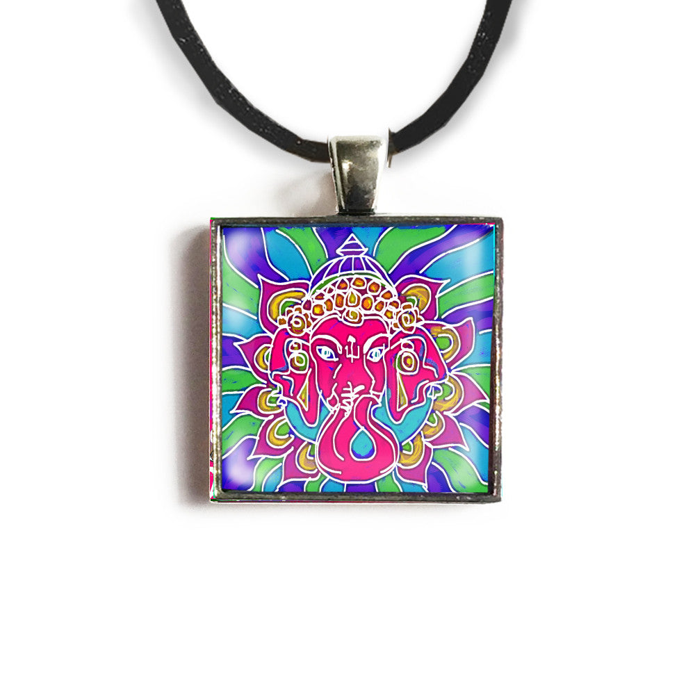 Ganesha 1 Square Glass and Silver Pendant - Original Women and Girl gift , Jewelry - The Art Journey
