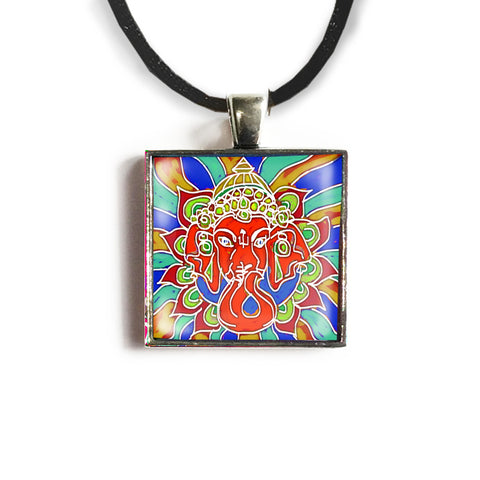 Ganesha 2 Square Glass and Silver Pendant - Original Women and Girl gift , Jewelry - The Art Journey