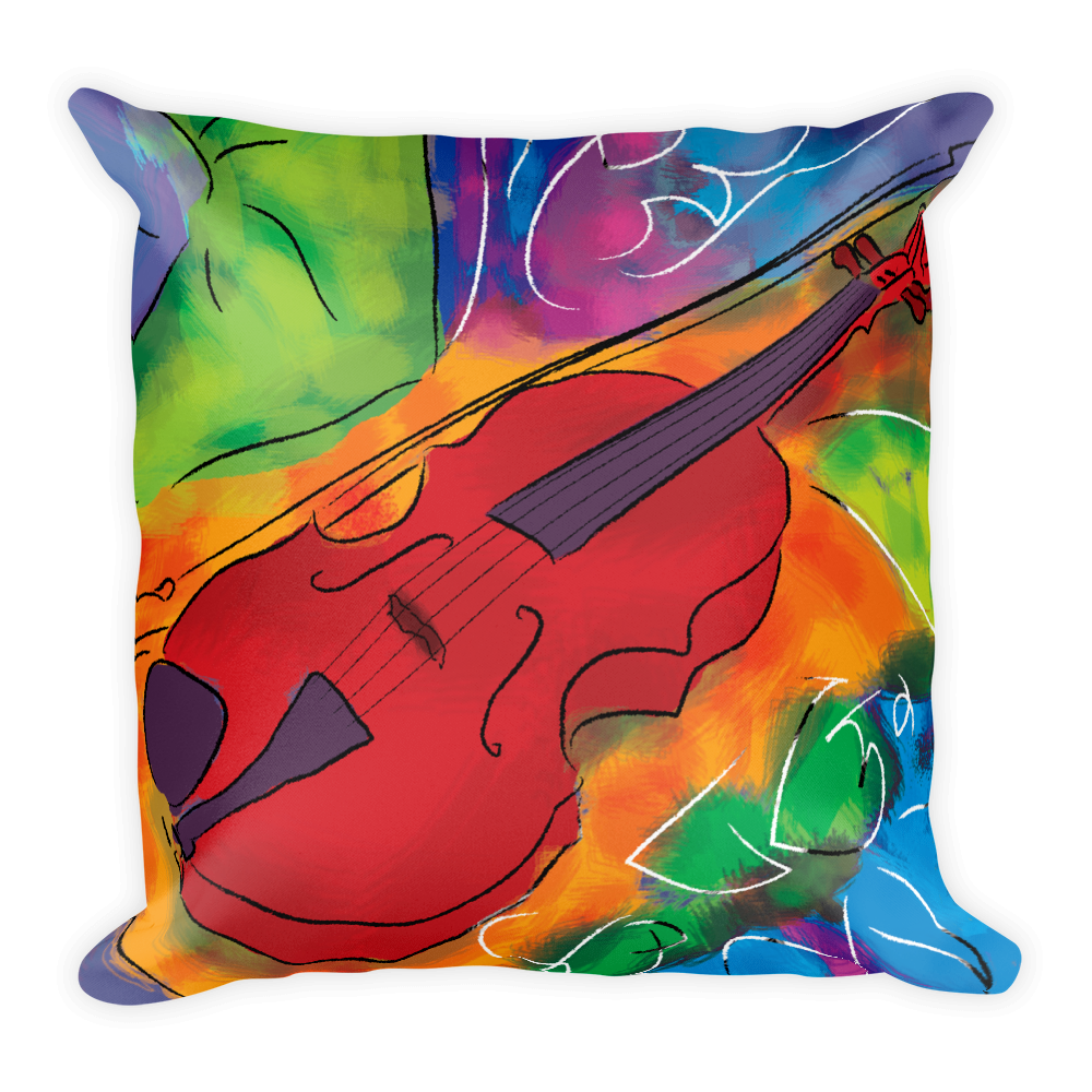 Red Violin Artistic Decorative Pillow , Pillows - The Art Journey