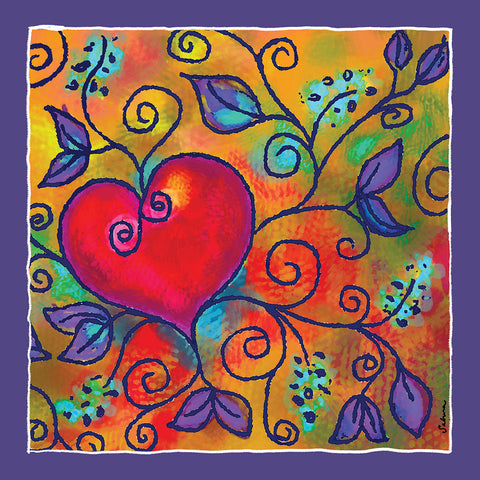 Hearts of Love 2 Silk Chiffon Large Square Scarf , Scarves - The Art Journey