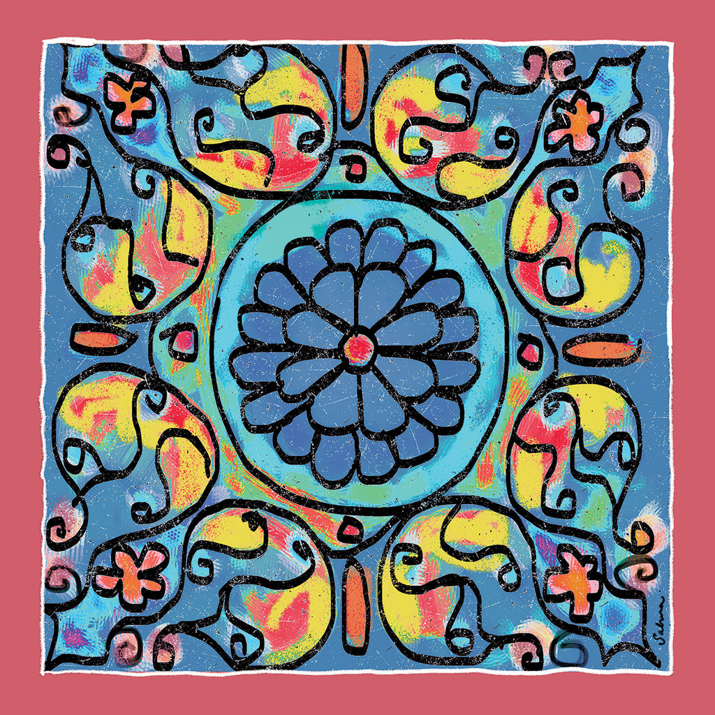 Mandala 4 Silk Chiffon Large Square Scarf , Scarves - The Art Journey