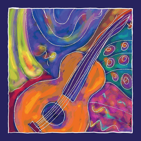 Guitar Silk Chiffon Large Square Scarf , Scarves - The Art Journey