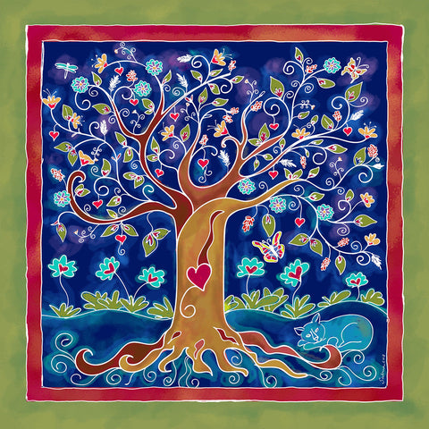Tree of Life Silk Chiffon Large Square Scarf , Scarves - The Art Journey