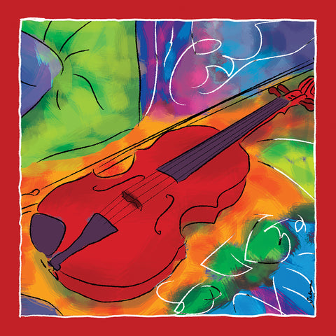 Red Violin Silk Chiffon Large Square Scarf , Scarves - The Art Journey