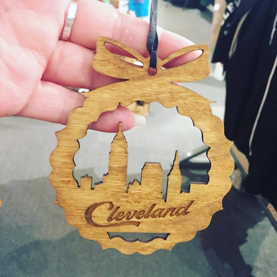 Wood Cleveland Skyline Ornament