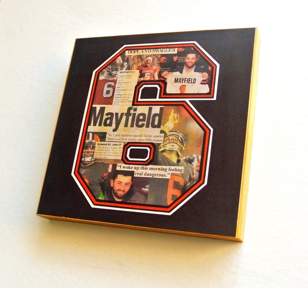 Baker Mayfield Mixed Media Wood Print