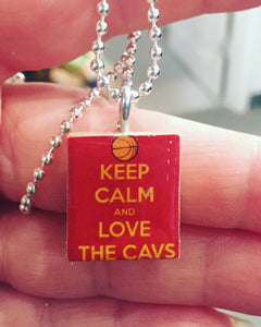 Keep Calm and Love The Cavs Scrabble Pendant with Ball Chain