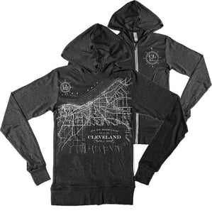 This zip up is a must have. Map of Cleveland is on the back of this Bella Canvas triblend (50% polyester, 25 % rayon, 25% cotton) light weight hooded zip up jacket. The color is charcoal.