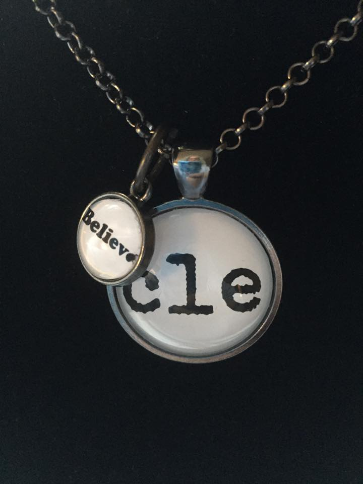 This CLE, Ohio necklace is a one inch pendant with a 12mm dangle charm.
