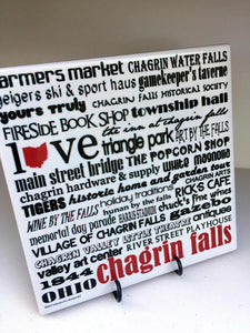 Chagrin Falls City Art Tile. Handmade Coaster.