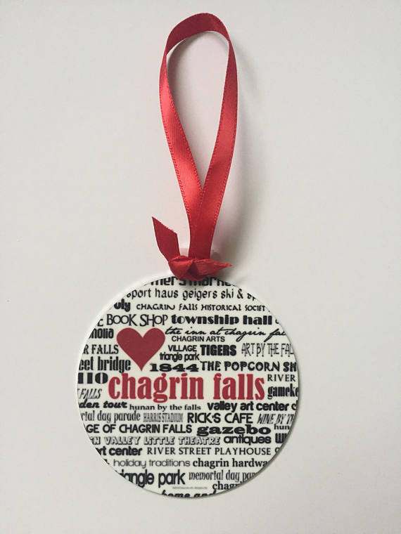 Chagrin Falls City Ornament. Handmade Ornament.