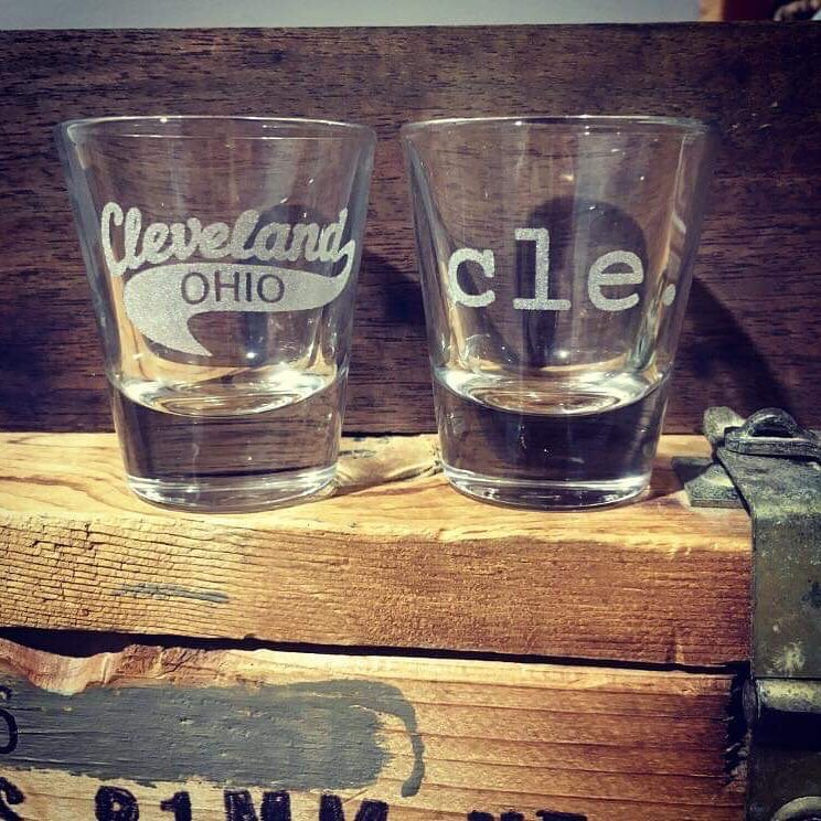 CLE. And Cleveland Swoop Shot Glasses