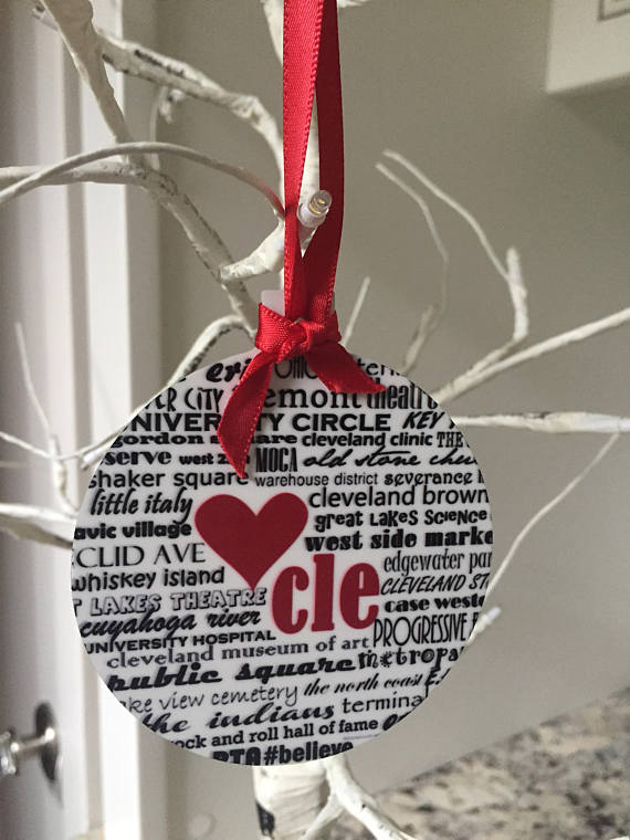 CLE, Cleveland, Ohio Handmade Ornament.