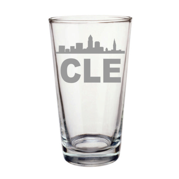 This pint glass features the Cleveland skyline with the letters C L E.  Pint glass is 16oz and laser etched.  Dishwasher safe.