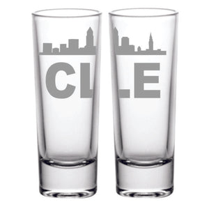 Set of two shot glasses. The CLE design wraps around the shot glass. It is a 2.5 oz laser etched shot glass. Dishwasher safe.