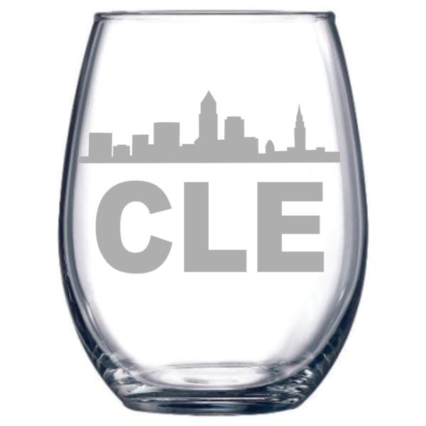 This glass features the Cleveland Skyline and the letters C L E. It is 15oz and laser etched.