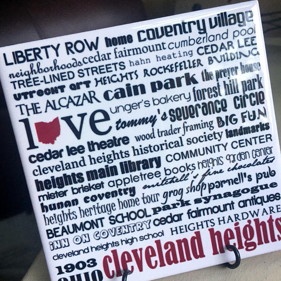 Cleveland Heights handmade coaster/art tile.