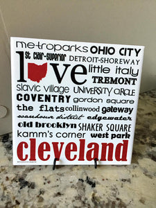 Cleveland, Ohio Handmade Art Tile, Coaster