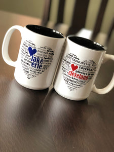 Lake Erie and Cleveland, Ohio Handmade Coffee Mugs