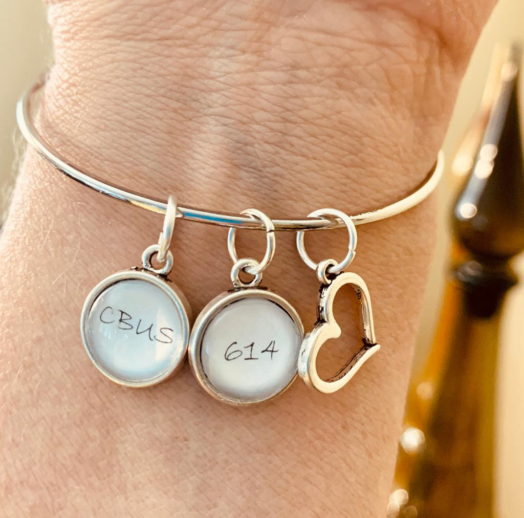Columbus Area Code 614 Bangle Bracelet With Charms