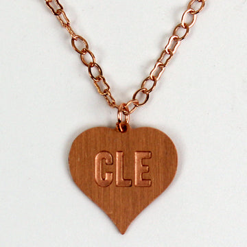 CLE in a Heart Necklace. Cleveland, Ohio Necklace
