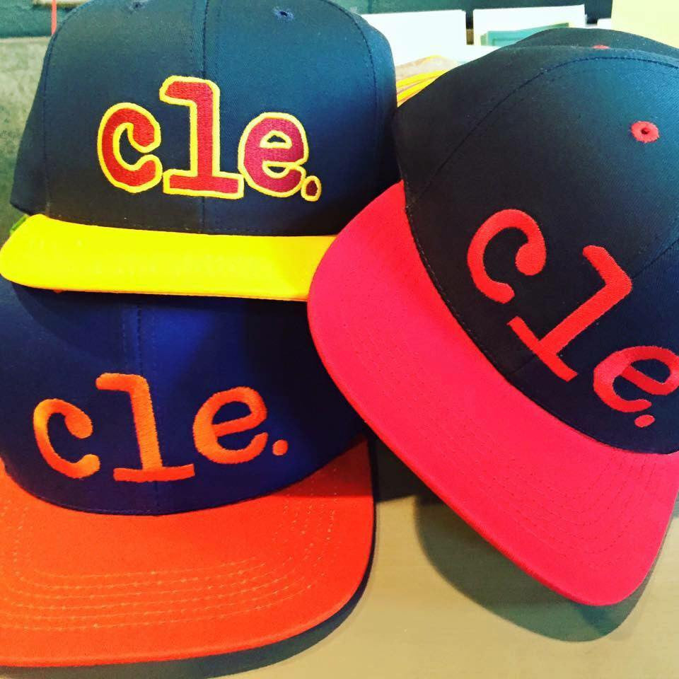 These Cle. baseball snapbacks are made right here in Cleveland, Ohio. You can choose from Cleveland Indian Navy/red, Retro Cavs Orange/blue, or New Cavs Navy/gold/wine.
