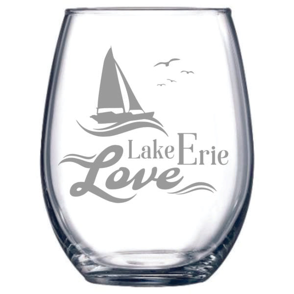 Lake Erie Love Stemless Wine Glass