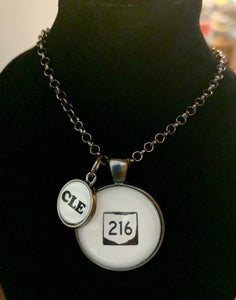 Route Sign 216 Pendant With CLE Dangle Charm